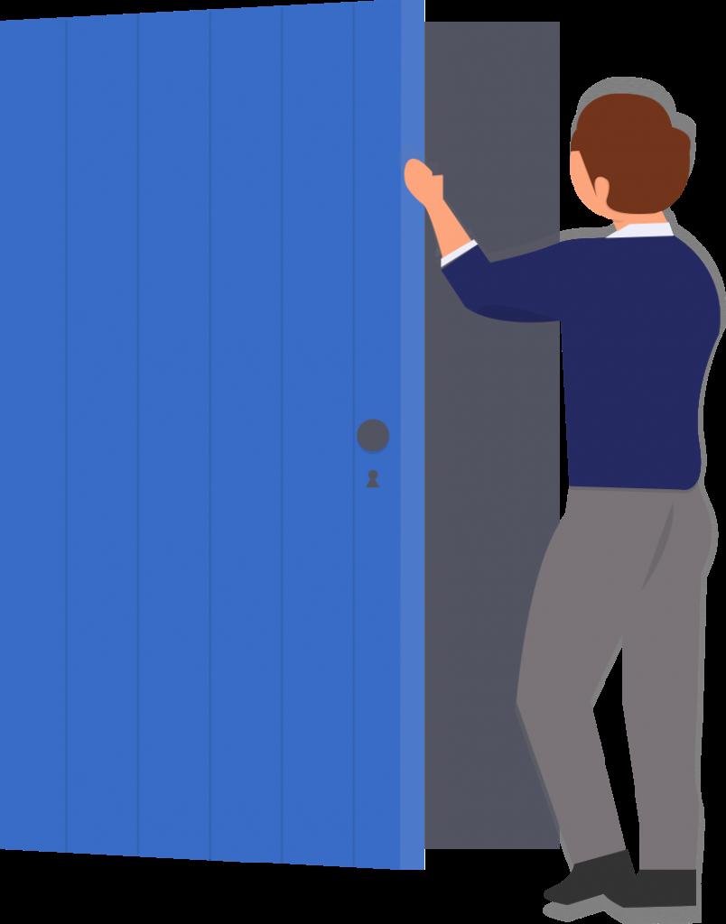 איור של סטודנט פותח דלת של כיתה